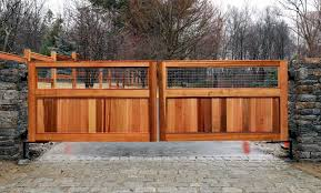 custom cedar wood gate matched to new fencing