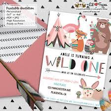 Print Birthday Invitation Wild One Girl First Birthday Party Invitations Diy Tribal Invitations Woodland Printable Birthday Invite Adventure Boho Teepee Invitations