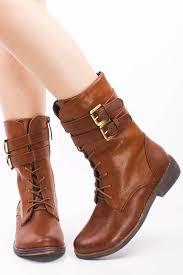 brown combat boots with heels