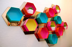 5 diy bright multicolored handmade hexagonal honeycomb shelving