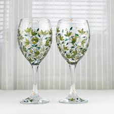 Wine Glasses Green Leaves Design Wedding Glasses Hand Painted