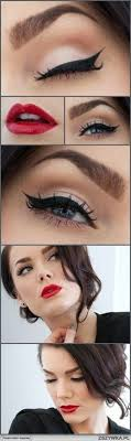 50 s make up tutorial google zoeken more retro eye makeup red lip eye makeup