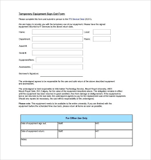 Sign Out Form Template 5 Equipment Sign Out Sheet Schedule Checkout Form Template