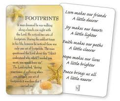 footprints in the sand prayer card