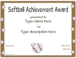 Superlative Certificate Softball Award Certificates Rome Fontanacountryinn Com