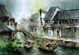 a countryside watercolor chinese painting