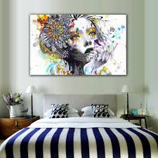 modern wall art girl with flowers unframed canvas painting for home bedroom