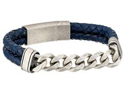 steve madden stainless steel curb chain w blue braided leather bracelet silver mens jewelry bracelets