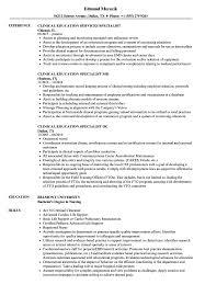 Education Specialist Clinical Education Resume Samples Velvet Jobs