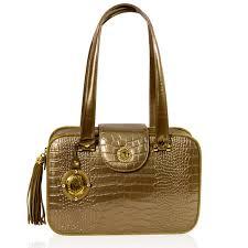 valentino orlandi italian designer bronze croc embossed leather purse boxy bag handbags com
