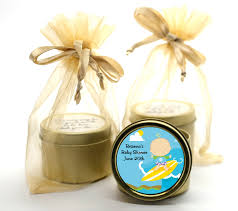 surf boy baby shower gold tin candle favors to enlarge