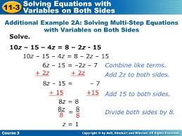 multi step equation examples jennarocca solving equations with variables on both sides additional example 1 solving equations that contain like terms