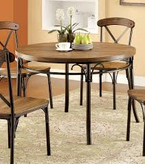 metal and wood round dining table of furniture america cmrt crosby industrial style bronze images