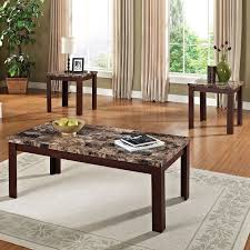 acme 3 piece finely coffee and end table set dark brown faux marble black com