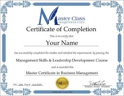 Certificate Of Completeion Business Management Certification Course Certificate Of