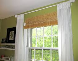 Classy Hanging Bamboo Roller Outside Mount Blinds With Double Hanging Blinds Above Window
