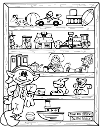Small Picture Christmas Elf Coloring Page Elf Beside Toy Shelf