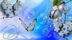 Blue butterflies blue flowers wallpaper ...