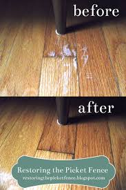 removing scratches from a wood floor one part vinegar three parts cooking oil rub in no need to wipe off from restoringthepicketfence spot