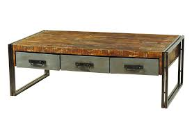 Moti Furniture Addison Reclaimed Wood and Metal Coffee Table 3 Drawers