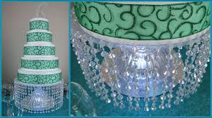 diy lighted chandelier cake stand