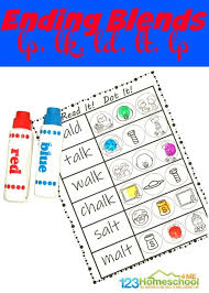Phonics printable worksheets and activities (word families). Free Ending Blends Worksheets