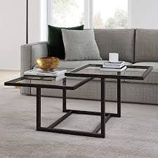 tier square glass coffee table
