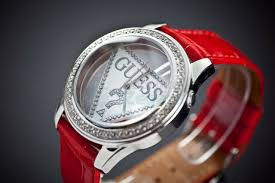 las guess watch collection case material stainless steel red blue and white interchangeable leather calfskin straps dial type og silver