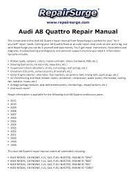 audi a8 quattro repair manual 1998 2011 repairsurge com audi a8 quattro repair manual the convenient online audi a8 quattro