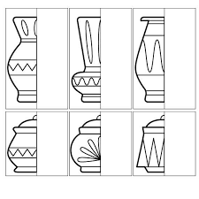 Small Picture Coloring for kids Complete Drawing the vase and pot halves How