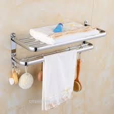 Stainless Steel Bathroom Towel Rack Towel Shelf with Hooks Hotel Bathroom  Accessories