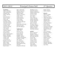 2011-‐2012 Principal's Honor Roll 2nd Quarter