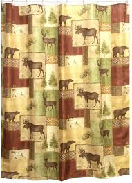 lodge cabin curtains guild mountain fabric shower curtain is a heat transfer print on textured polyester