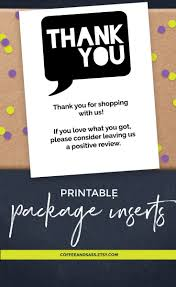 Instant Download Printable Thank You Card Package Insert For Small