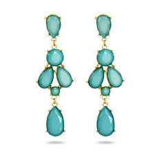 peardrop teal chandelier earrings