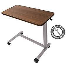 Amazon.com: Medical Adjustable Overbed Bedside Table with Wheels ...