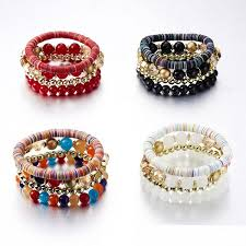 <b>2019 New Fashion Multilayer</b> Candy Beads Tassel Bangles Strand ...