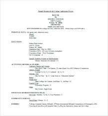 College Resume Format College Admissions Resume Template For Word