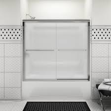 sterling finesse 59 5 8 x 58 1 16 frameless sliding bath door in silver with clear glass at menards