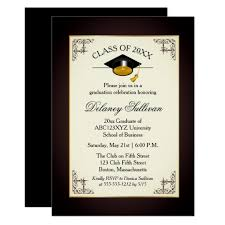 Formal College Graduation Announcements Elegant Formal Gold College Graduation Party Invitation