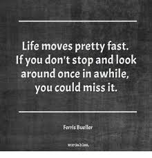 Life Moves Pretty Fast If You Don't Stop And Look Around Once In Enchanting Life Moves Pretty Fast