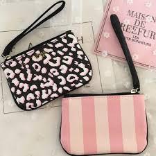 victoria s secret leopard pink stripe mini coin purse card holder