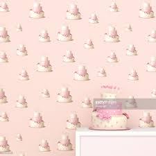 cake pattern wallpaper. Wonderful Pattern Pink And White Birthday Cake In Front Of Wallpaper With Fancy Pattern  3D Rendering In Cake Pattern Wallpaper C