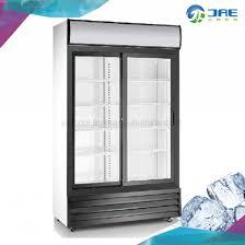 double sliding door display refrigerator for food beverage