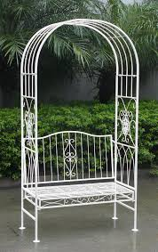 charles bentley white wrought iron shabby chic outdoor arch archway bench