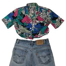 Vtg 90s <b>Hawaiian</b> Shirt Crazy All Over <b>Print Zebra Floral</b> Medium ...