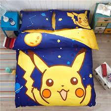 pokemon sheet set bedding set cartoon kids favorite home textile in the late night no fading pokemon sheet set