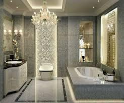cool master bathroom design for elegant home interior built in wall shelves plus white wooden vanity cabinet and oval bathtub over crystal chandelier
