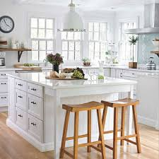 Simple White Country Cottage Kitchen And Blue For Design