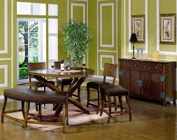 Rounded Dark Tone Wood Dining Table Ideas With Curved Brown Leather